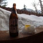 露天風呂withビール