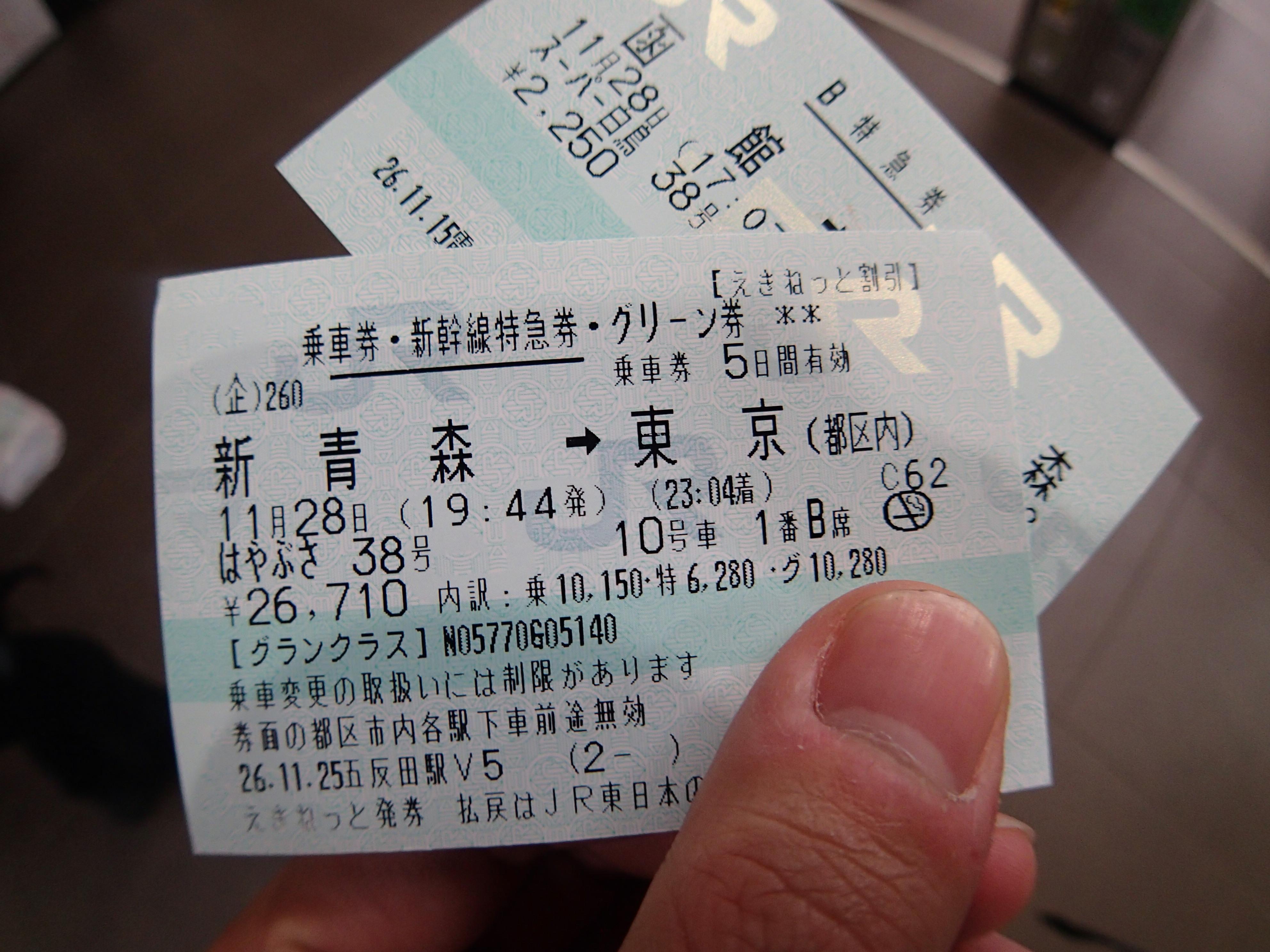 東京行き切符
